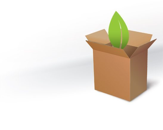 Illustration of a box with a leaf coming out of it