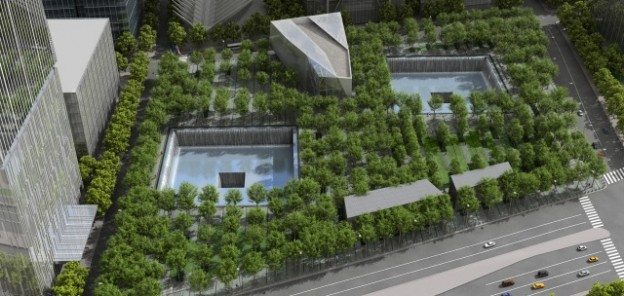 A rendering of the memorial planned to be constructed at Ground Zero in New York City.  Rendering by Squared Design Lab from www.national911memorial.org
