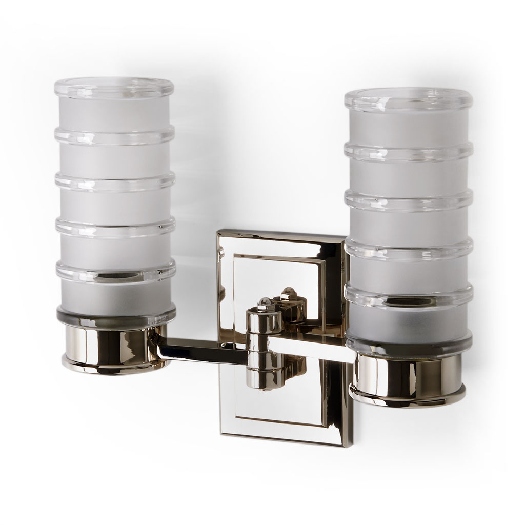EELT02_Sconce_Electra Wall Mounted Double Arm Sconce with Glass Shade in Nickel