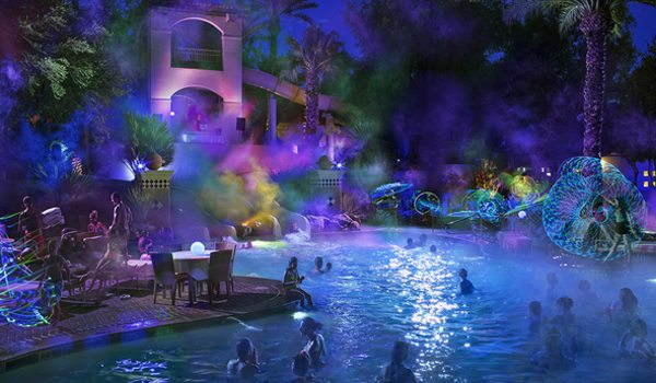 The Techno Glo Party at the Fairmont Scottsdale Princess features black lights, lasers, fog, LED hula hooping, glow-in-the-dark bubbles, drinks and a DJ pulsating techno music.